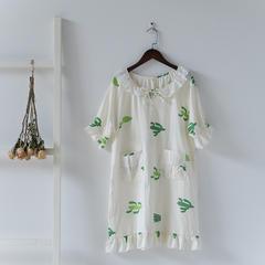 印花双层纱短袖裙 均码 仙人掌