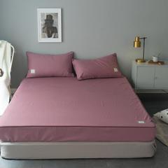 纯棉活性磨毛单品床笠纯色1.2/1.5/1.8/2.0可配枕套 120cmx200cm 豆沙红
