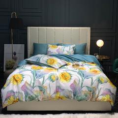 60S贡缎四件套花卉60支数码印花双人美式床单套件 1.5m(5英尺)床 向阳