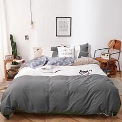 ins风纯棉水洗棉四件套网红毛巾绣花全棉床单床笠套件 1.2m(4英尺)床 嗯哼