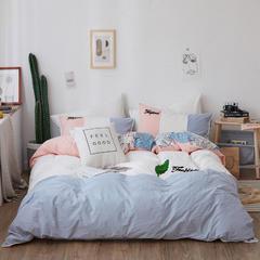 ins风纯棉水洗棉四件套网红毛巾绣花全棉床单床笠套件 1.2m(4英尺)床 润叶