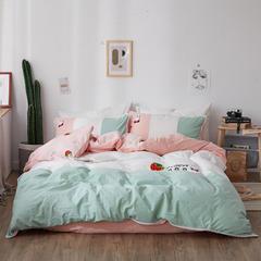 ins风纯棉水洗棉四件套网红毛巾绣花全棉床单床笠套件 1.2m(4英尺)床 甜心