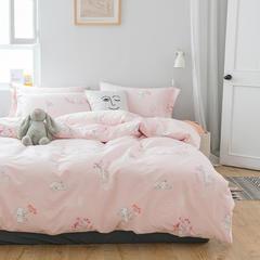 40贡缎纯棉四件套网红小黄鸭航海火烈鸟卡通菠萝全棉套件 1.2m(4英尺)床 乖乖兔