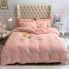 牛奶绒四件套加密法莱绒四件套宝宝绒四件套保暖绒四件套 1.2m(4英尺)床 小雏菊-粉