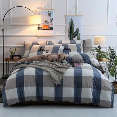 棉加绒四件套(32支的水洗棉) 定做床笠+10元 蓝大格