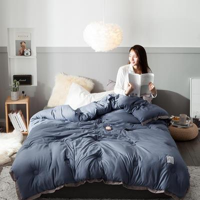 2018去年产品水洗棉冬被维纳丝花边款 150x200cm5斤 维纳丝藏蓝