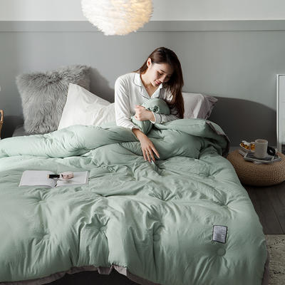 2018去年产品水洗棉冬被维纳丝花边款 150x200cm5斤 维纳丝豆绿