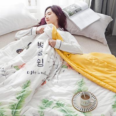 2019新款水洗棉印花夏被 110x150cm  0.7kg 蝴蝶-绿