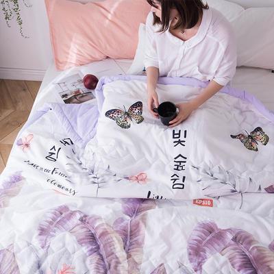 2019新款水洗棉印花夏被 110x150cm  0.7kg 蝴蝶-紫