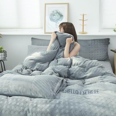 2019新款牛奶绒剪花刺绣四件套 1.5m(床单款四件套) 晴山蓝