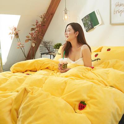 2019新款牛奶绒毛巾绣四件套 1.8m(床单款四件套) 草莓蜜恋-黄