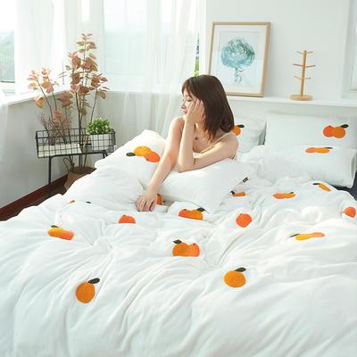 2019新款牛奶绒毛巾绣四件套 1.8m(床单款四件套) 橙子-白