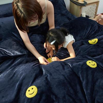 2019新款牛奶绒毛巾绣四件套 1.8m(床单款四件套) 微笑-蓝