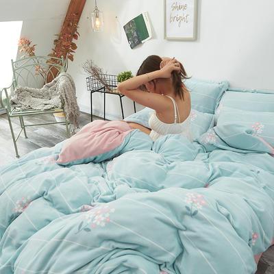 2019新款牛奶绒印花四件套 1.8m床单款 花晨月夕-灰