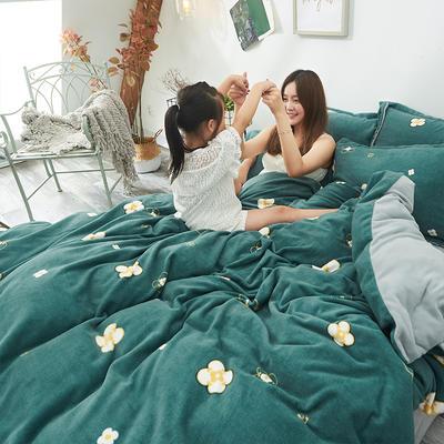 2019新款牛奶絨印花四件套 1.5m床單款 夢瑩-墨綠