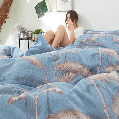 2019新款牛奶絨印花四件套 1.5m床單款 秋之印記-藍
