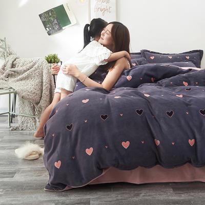2019新款牛奶絨印花四件套 1.5m床單款 心心相印-紫