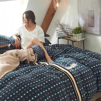 2019新款牛奶絨印花四件套 1.5m床單款 圓點印象-藍