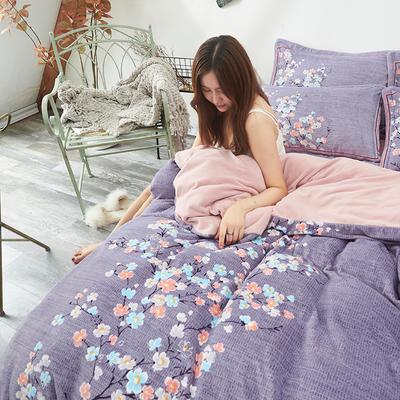 2019新款牛奶绒印花四件套 1.8m床单款 芷玉汀兰-紫