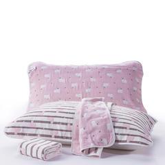 2018新款六层纱布枕巾-公版 羊驼粉50x80cm/对