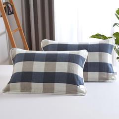 2018新款六层纱布枕巾-公版 复古大格蓝50x80cm/对