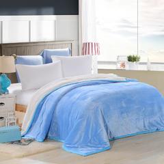 2018新款-素色和贝贝绒行绣盖毯 1.5m 天蓝色