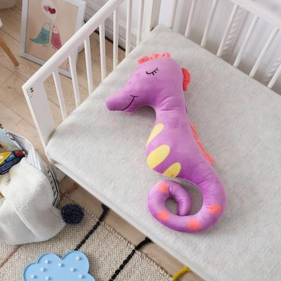 新款海马抱枕公仔毛绒玩具安抚陪睡玩偶送孩子礼品物 35*70cm 海马-紫