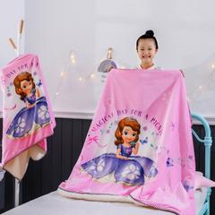 2018新款迪士尼儿童多功能盖毯 小号80*160cm 索菲亚公主粉