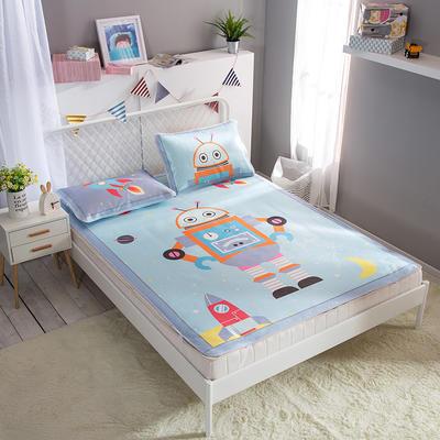新款数码印花卡通冰丝席单双人空调软席冰丝凉席 1.2m(4英尺)床 机器人