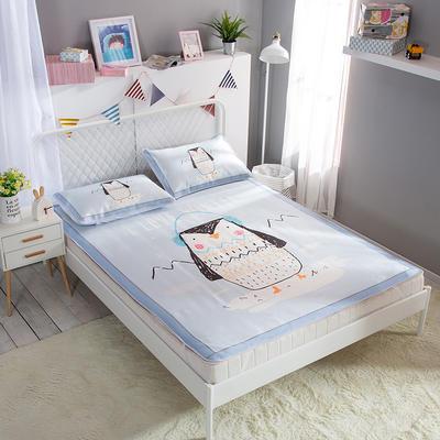 新款数码印花卡通冰丝席单双人空调软席冰丝凉席 1.2m(4英尺)床 猫头鹰