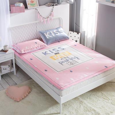 新款数码印花卡通冰丝席单双人空调软席冰丝凉席 1.2m(4英尺)床 吻我