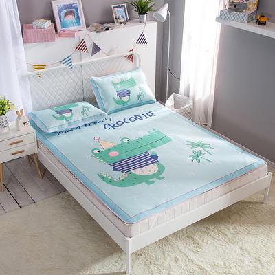新款数码印花卡通冰丝席单双人空调软席冰丝凉席 1.2m(4英尺)床 小鳄鱼