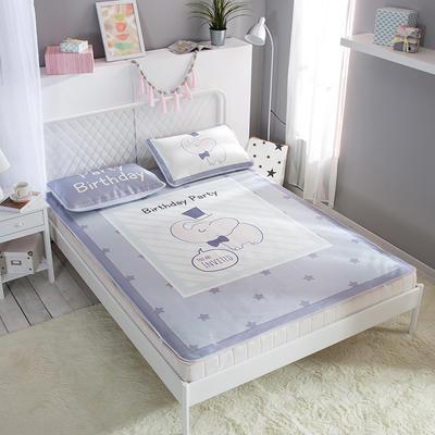 新款数码印花卡通冰丝席单双人空调软席冰丝凉席 1.2m(4英尺)床 小象