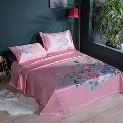 2019年数码印花600D冰丝席欧式花卉蕾丝边空调软席床单款 250*250cm(床单款) 花镜缘-粉