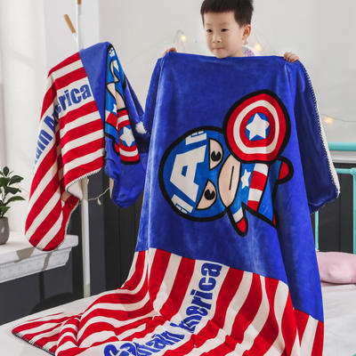 新款迪士尼儿童多功能盖毯牛奶绒披肩数码印花羊羔绒毯 大号120*160cm 美国队长