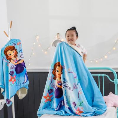 新款迪士尼儿童多功能盖毯牛奶绒披肩数码印花羊羔绒毯 大号120*160cm 美人鱼公主
