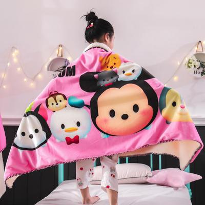 新款迪士尼儿童多功能盖毯牛奶绒披肩数码印花羊羔绒毯 大号120*160cm 松松家族-粉