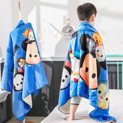 小芽家居新款迪士尼儿童多功能盖毯牛奶绒披肩数码印花羊羔绒毯 小号80*160cm 松松家族-蓝