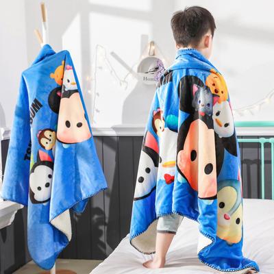 新款迪士尼儿童多功能盖毯牛奶绒披肩数码印花羊羔绒毯 大号120*160cm 松松家族-蓝