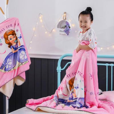 新款迪士尼儿童多功能盖毯牛奶绒披肩数码印花羊羔绒毯 大号120*160cm 索菲亚公主-粉