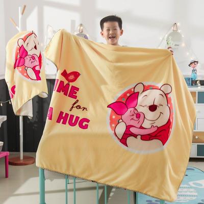 新款迪士尼儿童多功能盖毯牛奶绒披肩数码印花羊羔绒毯 大号120*160cm 小熊维尼