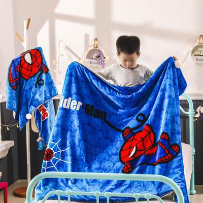 新款迪士尼儿童多功能盖毯牛奶绒披肩数码印花羊羔绒毯 大号120*160cm 蜘蛛侠