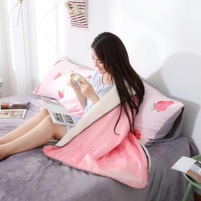新款数码印花羊羔绒披肩小清新网红盖毯水晶绒毯子 75*160cm 兔子-粉