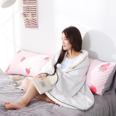 新款数码印花羊羔绒披肩小清新网红盖毯水晶绒毯子 75*160cm 星星-灰