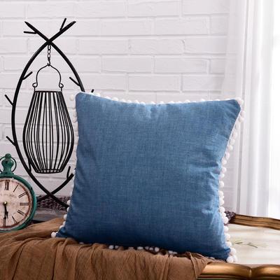 新款全棉水洗棉方型抱枕靠垫公主五角星抱枕礼品枕 45x45cm 方枕-蓝色