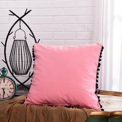 新款全棉水洗棉方型抱枕靠垫公主五角星抱枕礼品枕 45x45cm 方枕-粉色