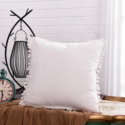 新款全棉水洗棉方型抱枕靠垫公主五角星抱枕礼品枕 45x45cm 方枕-白色