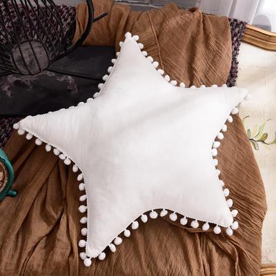 新款全棉水洗棉方型抱枕靠垫公主五角星抱枕礼品枕 45x45cm 五角星-白色