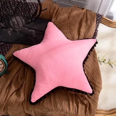 新款全棉水洗棉方型抱枕靠垫公主五角星抱枕礼品枕 45x45cm 五角星-粉色