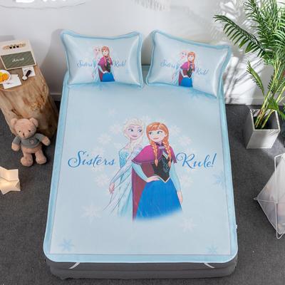 新款正版授权迪士尼数码印花冰丝席三件套卡通空调软席儿童学生宿舍折叠席 1.2m(4英尺)床 冰雪公主